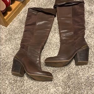 Brown leather and suede knee high boots